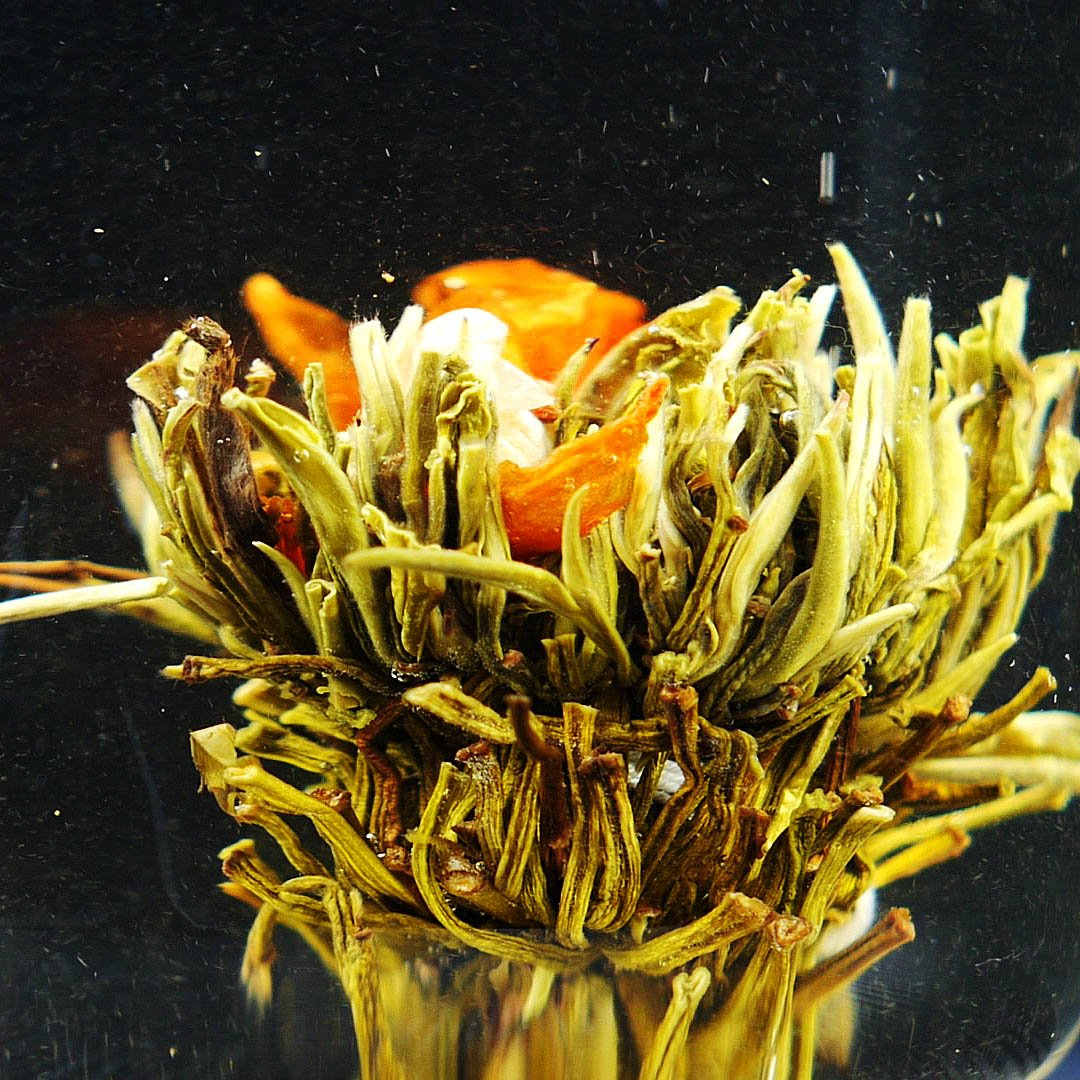 close up of blooming tea
